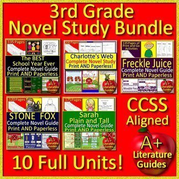 3rd Grade Novel Study Bundle Print and Go AND Paperless Common-Core Aligned