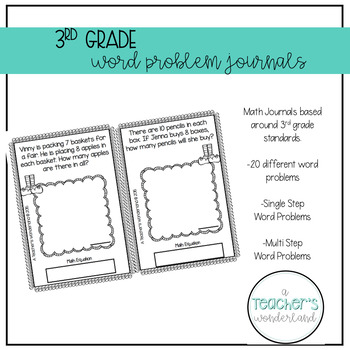 3rd Grade November Math Word Problem Journal