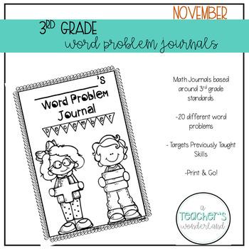 3rd Grade November Math Word Problem Journal