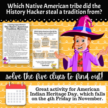3rd Grade November Reading Adventure- The Native American Tradition Mystery