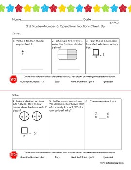 3rd Grade - Number & Operations...Fractions Check Up with Self Assessment