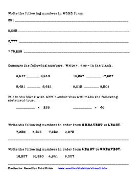 3rd Grade Number Sense Unit Test