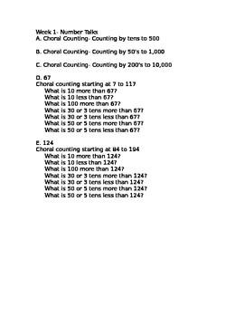 3rd Grade Number Talks and Math Journal