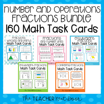 Number and Operations - Fractions Bundle Task Cards for 3rd Grade
