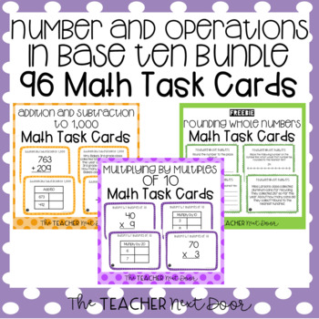 Number and Operations in Base Ten Task Card Bundle for 3rd Grade