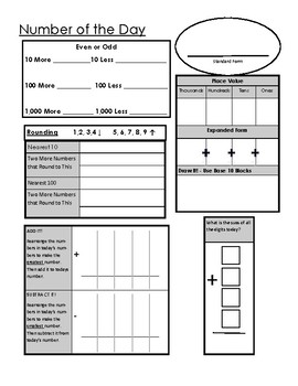 3rd Grade Number of the Day - Spiral Review Activity Sheet by Nelson ...