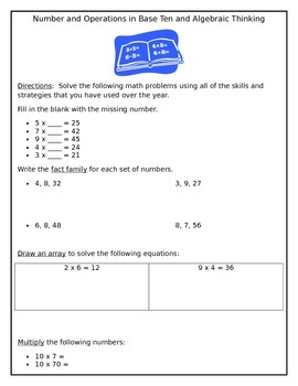 3rd Grade Numbers and Operations in Base Ten and Algebraic Thinking Review