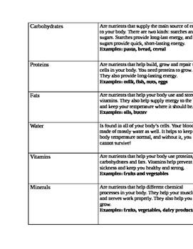 3rd Grade Nutrient Flipbook Activity