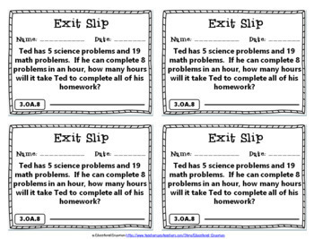 3rd Grade OA Exit Slips: Operations & Algebraic Thinking Exit Slips 3rd Grade