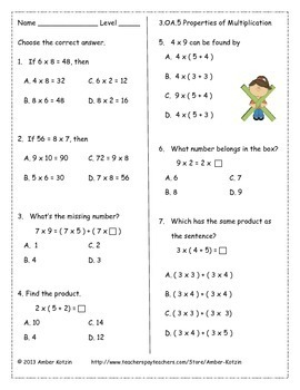 3rd Grade *OPERATIONS AND ALGEBRAIC THINKING* Common Core Worksheets