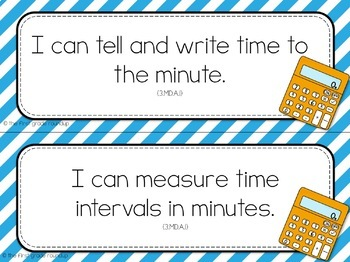 3rd Grade Objective Cards (I Cans): Stripes, Common Core Aligned