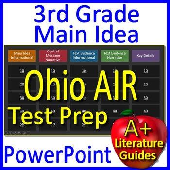 3rd Grade Ohio AIR Test Prep Main Idea and Text Evidence Game - OST