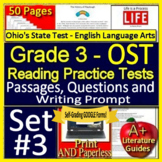 3rd Grade Ohio AIR Test Prep Practice Tests for ELA - Printable AND Self-Grading