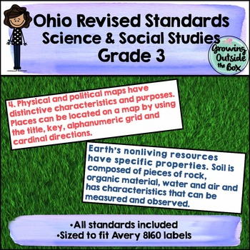 3rd Grade Ohio Science and Social Studies Standard Labels