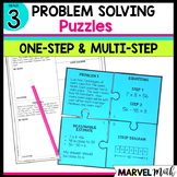 3rd Grade One & Multi-Step Problem Solving Puzzles *TEKS & Common Core*