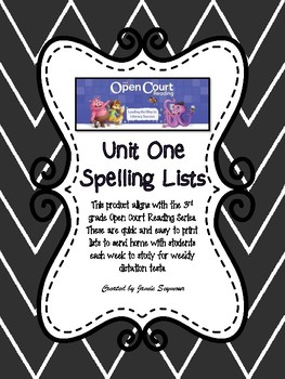 3rd Grade Open Court Unit 1 Spelling Lists