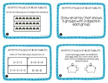 Operations and Algebraic Thinking Task Card Bundle 3rd Grade