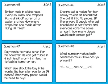 3rd Grade Operations and Algebraic Thinking Task Cards