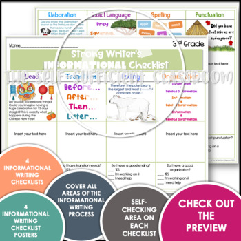 3rd Grade Opinion, Narrative, & Informational Writing Rubric/Posters~ Editable