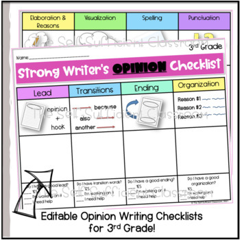 3rd Grade Opinion Writing Checklist~ EDITABLE