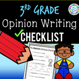 3rd Grade Opinion Writing Checklist (standards-aligned) - PDF and digital!!