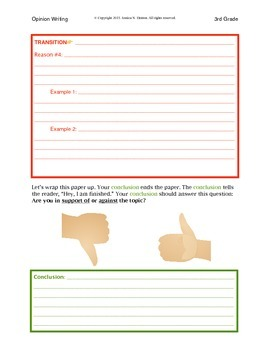 3rd Grade Opinion Writing Graphic Organizer