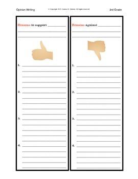 3rd Grade Opinion Writing Graphic Organizer