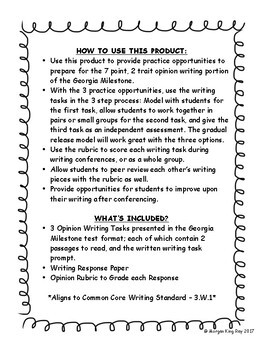 3rd Grade Opinion Writing Texts and Prompts for Georgia Milestone