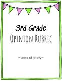 3rd Grade Opinion Writing Rubric