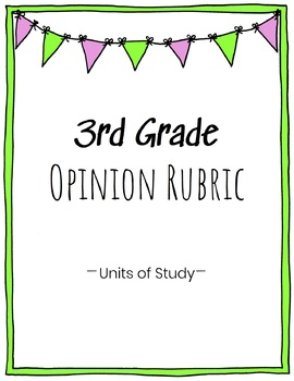 3rd Grade Opinion Writing Rubric