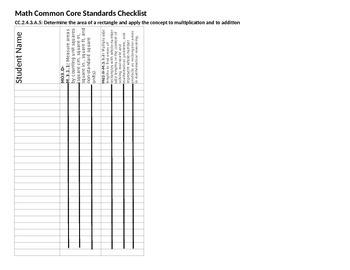 3rd Grade PA Math Common Core Student Mastery Checklist