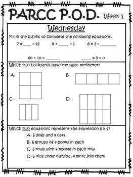 3rd Grade PARCC-Like Problems of the Day!