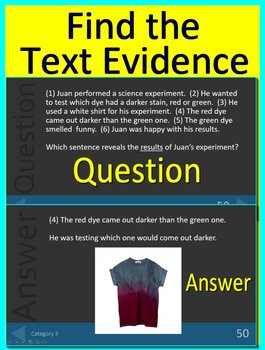 3rd Grade PSSA Test Prep Main Idea and Text Evidence Game