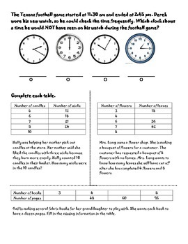 3rd Grade Patterns, Time, and Tables