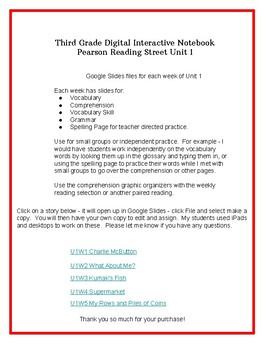 3rd Grade Pearson Reading Street Digital Interactive Notebook