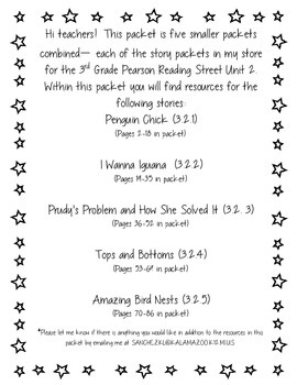 3rd Grade Pearson Reading Street Unit 2 Packet