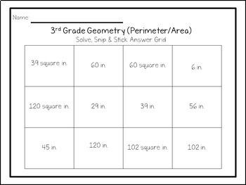 3rd Grade Perimeter & Area: Solve, Snip & Stick; TEKS; 3.6C, 3.7B