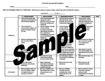 3rd Grade Persuasive Writing Rubric