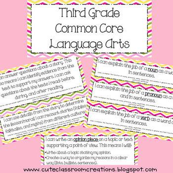 3rd Grade Pink & Green Chevron LA Common Core Objectives Posters