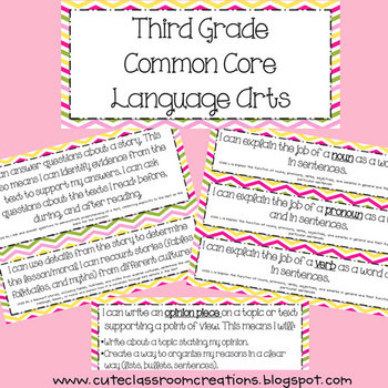 3rd Grade Pink & Green Chevron/Plaid Common Core Objective