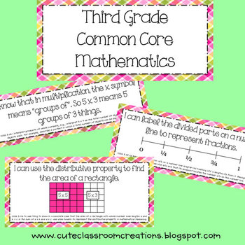 3rd Grade Pink & Green Plaid Math Common Core Objectives Posters
