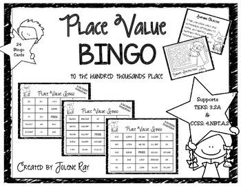 3rd Grade Place Value Bingo (to hundred thousands): TEKS 3.2A & CCSS 4.NBT.A.2