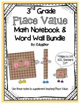 Place Value Math Notebook and Word Wall Bundle