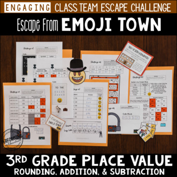 3rd Grade Place Value Review Escape Room Escape from Emoji Town