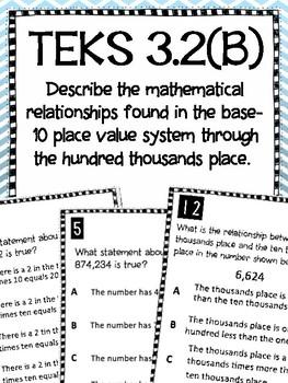 3rd Grade Place Value TEKS 3.2B Task Cards