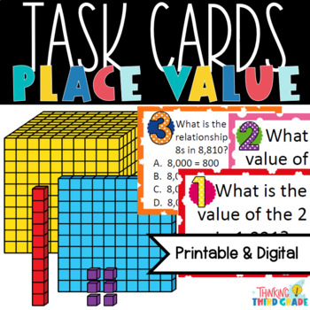 3rd Grade and 4th Grade Place Value Task Cards - Scoot - T
