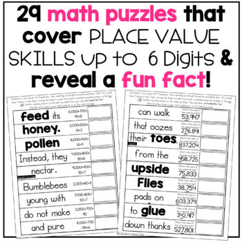 3rd Grade Place Value Unlock the Fact Math Puzzles