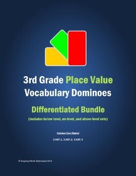 3rd Grade Place Value Vocabulary Dominoes (complete differentiated set)