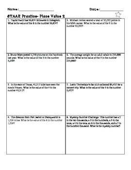 3rd Grade Place Value Word Problems