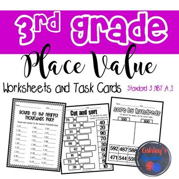 3rd Grade Place Value Worksheets and Task Cards (3.NBT.A.1)